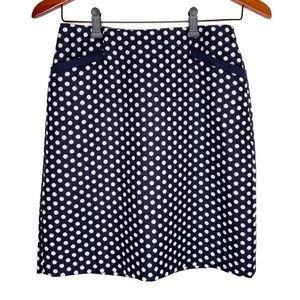 Talbots navy blue/white polkadot wool pencil skirt